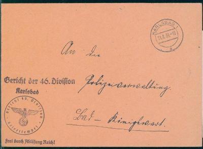 14B535 Služební vojenský dopis 46. divize Karlovy Vary - Kynžvart