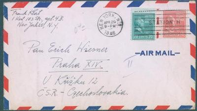 20B29 Letecký dopis New York - Praha