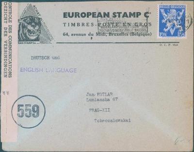 17B185 Dopis Bruxelles (Belgie) do Prahy, cenzurováno