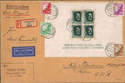 12B865 Letecký dopis vyfrankováno aršíkem +Neutitschein- Nový Jičín RR
