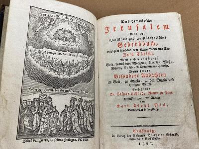- JERUZALÉM - stará kniha v kožené vazbě Augsburk 1827 Vzácný tisk !