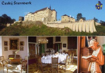 hrad Český Šternberk - celkový pohled a interiéry hradu, erb