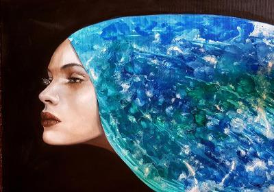 Žena - NEBE  - Olej na plátně + pouring  - 50x70cm  /obraz /olejomalba