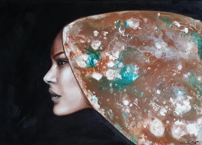 Žena - ZEMĚ II.  - Olej na plátně + pouring 50x70cm /obraz /olejomalba