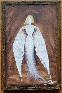 Anděl - olej na plátně + struktura + zlatá barva - 30x20cm /obraz
