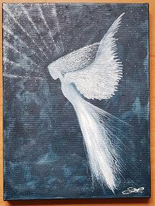 Anděl - olej na plátně + struktura  Rozměr: 40x30cm