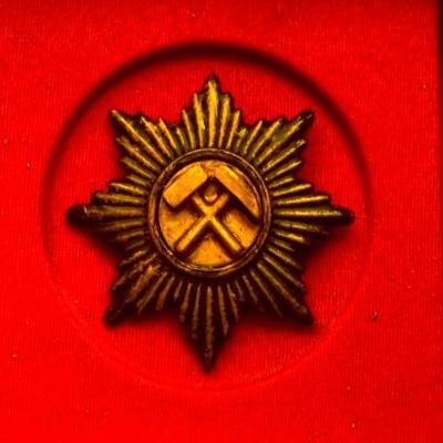 Hornická kovová Řádová Hvězda s kladívky a zapínáním v etui