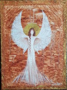 Anděl - olej na plátně + struktura + zlatá barva - 40x30cm /obraz