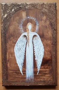 Anděl - olej na plátně + struktura + měděná barva - 30x20cm /obraz
