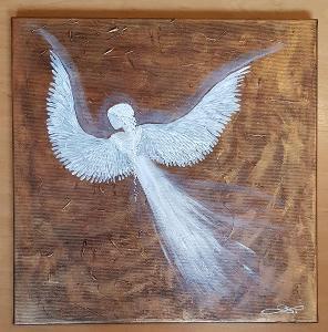 Anděl - olej na plátně + struktura + měděná  barva -  40x40cm /obraz