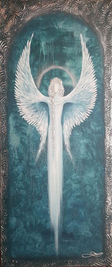 Anděl  -olej na plátně + struktura + stříbrná  barva - 70x30cm /obraz