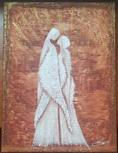 Andělé - olej na plátně + struktura + zlatá barva Rozměr: 40x30 /obraz