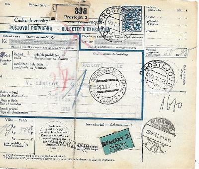 Průvodka Prostějov do zahraničí zajímavé známky
