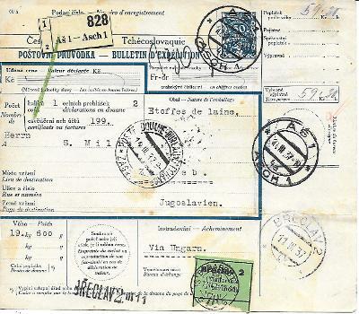 Průvodka Aš do zahraničí zajímavé známky