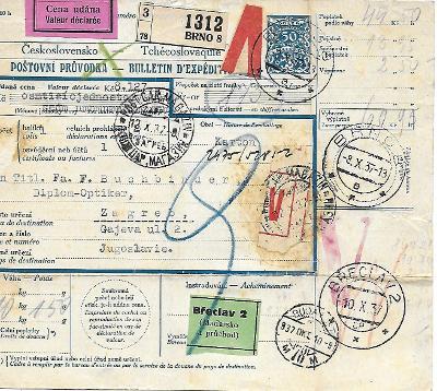Průvodka Brno 8 do zahraničí zajímavé známky