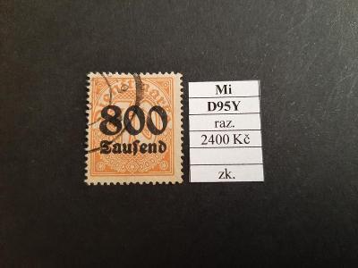 Deutsches Reich Služební Mi D95Y razítkované zkoušené