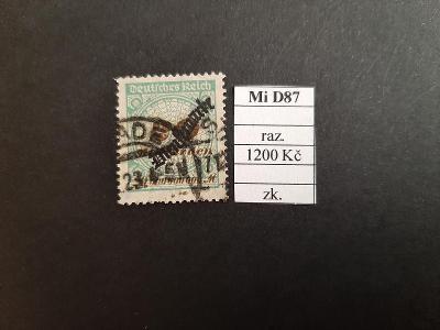 Deutsches Reich Služební Mi D87 razítkované zkoušené
