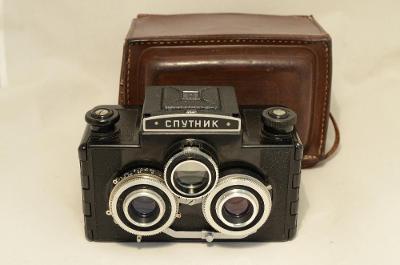 Starý Ruský fotoaparát SPUTNIK STEREO od sběratele,svitkový 6x6 film