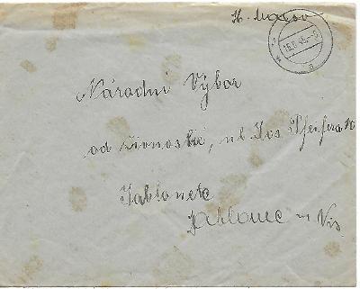 Firemní obálka Karlsberg Jablonec nad Nisou provizorium 1945 H. Makov
