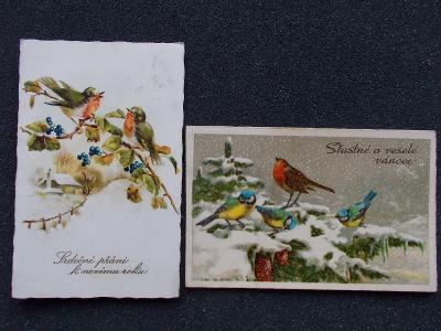 Pohlednice 2 x ptáci sýkorka pěnkava Vánoce Nový rok