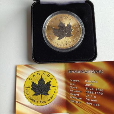 Stříbrná investiční mince  Maple Leaf 2021