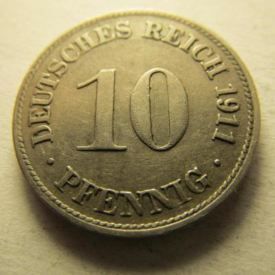Německo, Kaiser Reich , 10 pfennig z roku 1911 D