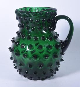 Překrásný bublinkatý džbánek z lesního skla