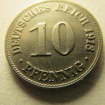 Německo, Kaiser Reich , 10 pfennig z roku 1913 D