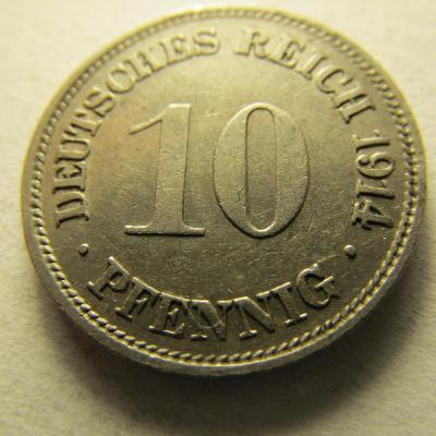 Německo, Kaiser Reich , 10 pfennig z roku 1914 G