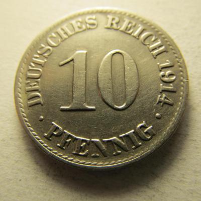 Německo, Kaiser Reich , 10 pfennig z roku 1914 A