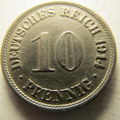 Německo, Kaiser Reich , 10 pfennig z roku 1914 F