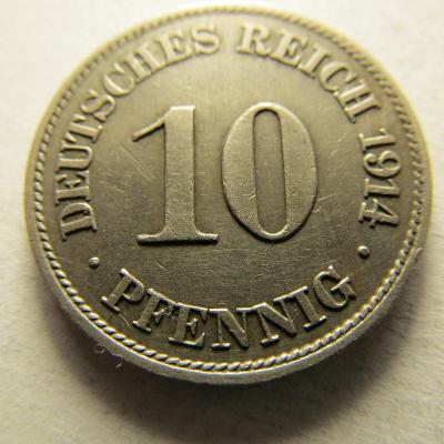 Německo, Kaiser Reich , 10 pfennig z roku 1914 J