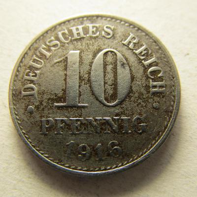 Německo, Kaiser Reich , 10 pfennig z roku 1916 D - Fe