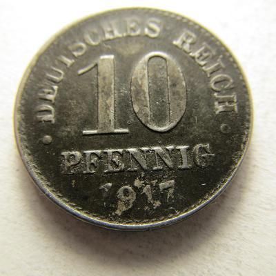 Německo, Kaiser Reich , 10 pfennig z roku 1917 D - Fe
