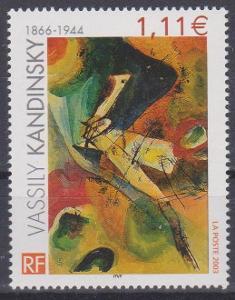 Francie 2003, známka umění - Kandinsky, svěží