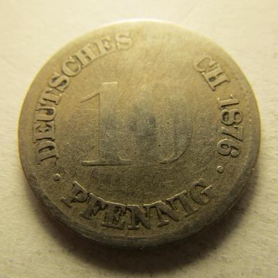 Německo, Kaiser Reich , 10 pfennig z roku 1876 G