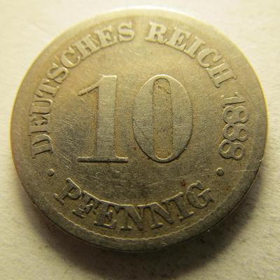 Německo, Kaiser Reich , 10 pfennig z roku 1888 D - R