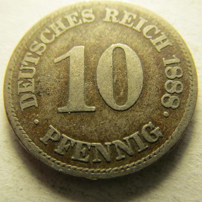 Německo, Kaiser Reich , 10 pfennig z roku 1888 E - R   HLEDANÁ