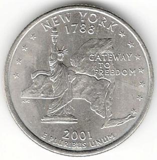 1/4 Dollar 2001 D - New York, USA