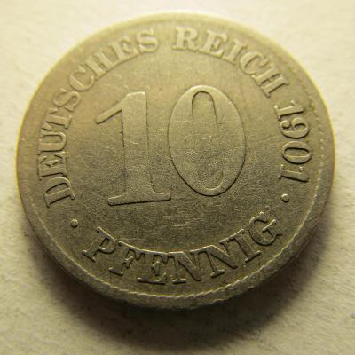 Německo, Kaiser Reich , 10 pfennig z roku 1901 E