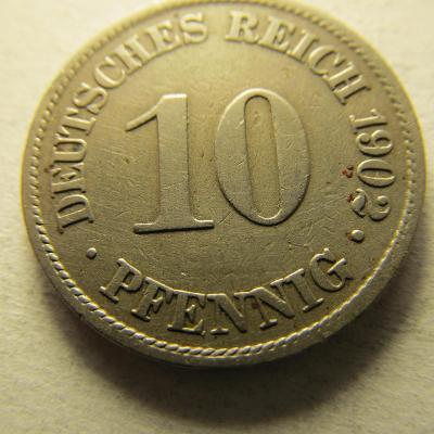 Německo, Kaiser Reich , 10 pfennig z roku 1902 A