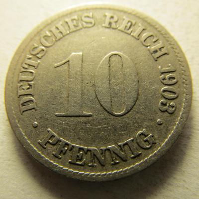 Německo, Kaiser Reich , 10 pfennig z roku 1903 D