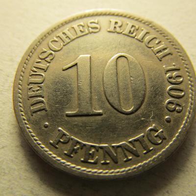 Německo, Kaiser Reich , 10 pfennig z roku 1906 A