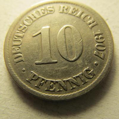 Německo, Kaiser Reich , 10 pfennig z roku 1907 A