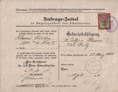 Lístek pro potřeby školství_Vídeň 20_Hlaváčová Rudolfa_Vídeň 20_3919