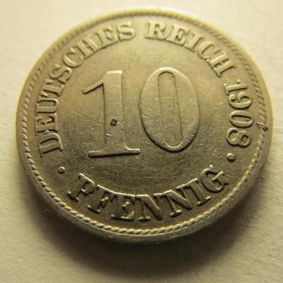 Německo, Kaiser Reich , 10 pfennig z roku 1908 A