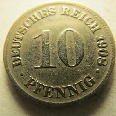 Německo, Kaiser Reich , 10 pfennig z roku 1908 D
