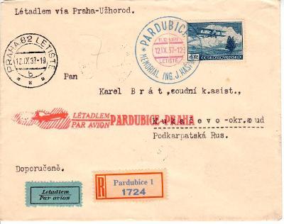 ČSR I. - celistvosť - LETECKÁ - Pardubice -Praha-Mukačevo - 12.9.1937