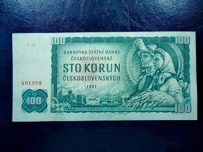100 korun 1961 VZACNA Serie C 61 NEPERFOROVANA