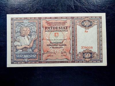 50 korun 1940 Serie As NEPERFOROVANA SUPER Stav